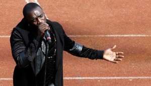 American hip hop and R&B singer Akon performs at the opening ceremony of the Afcon