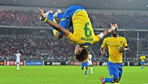 Aubemeyang celebrating goal AFCON 2015