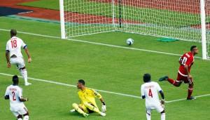Equatorial Guinea captain Emilio Nsue (R) Lopez celebrating goal.