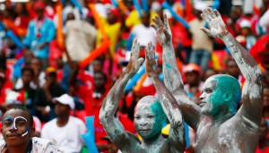 Equatorial Guinea fans enjoying the festivities at during the opening ceremony