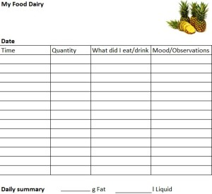 A Food Diary Sample